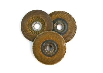 Used abrasive disks isolated on white background