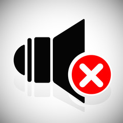 Mute icon with speaker symbol and red cross. Flat vector