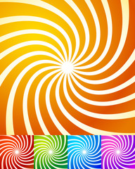 Colorful swirling shapes abstract background set. Vector.