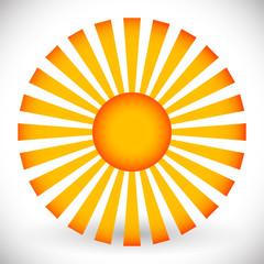 Sun vector clip-art. Sun with rays isolated on white