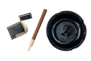 Ashtray with cigar and gold cigarette lighter
