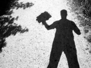 Schattenmann verschenkt Blumenstrauß