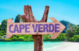 Fototapety Cape Verde wooden sign with beach background