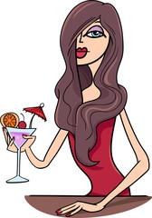 woman in pub cartoon illustration