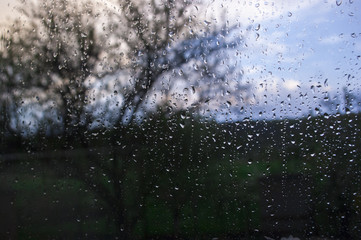 мокрое стекло с размытым деревом на фоне