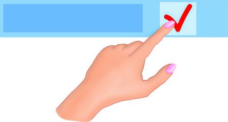 Рука нажимает кнопку заметка