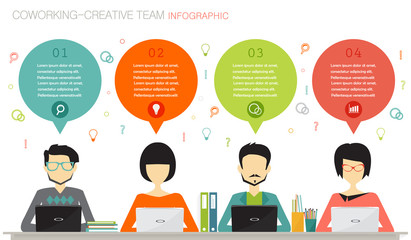 coworking, teamwork, creative team infographic concept
