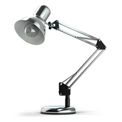 Vintage metal desk lamp isolated on white.