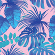 tropical leaves seamless background - 82994513