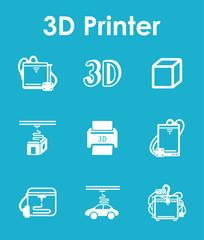 Set of three d printer simple icons