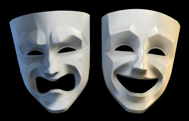 Tragicomic theater grotesque masks isolated on black background