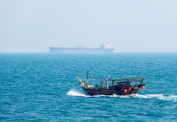 Traditional arabic wooden fishing boat-dhow