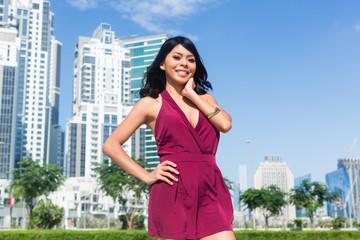 Tourist woman on city vacation in Dubai