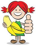 Kind mit Banane und Daumen hoch Vektor Illustration