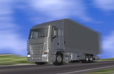 Truck speeding on the motion blur background - 3D render