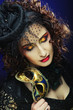 Постер, плакат: curly woman with mask Carnaval visage