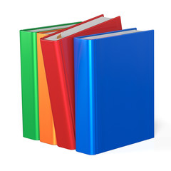 Books selecting bookshelf take one from four books row