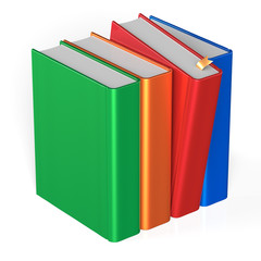 Blank books row four 4 covers selecting take red colorful