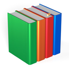 Books four blank educational textbooks bookshelf bookcase