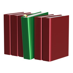 Red books row one green selected choosing leadership