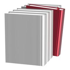 Books selecting bookshelf blank white row one red choice