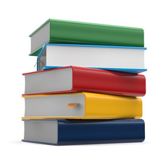 Books stack blank covers textbook different colors template