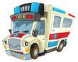Cartoon ambulance - caricature - illustration