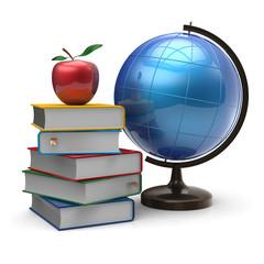 Globe books apple blank global knowledge symbol concept