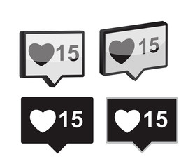 Like Notification Icon Vector Illustration