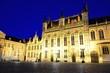 Bruges City hall and Burg square at night, Belgium