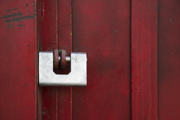 Safe lock on red door
