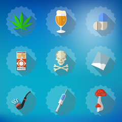 Bad Habits Flat Vector Icon Set. Include beer, alcohol, pills, i