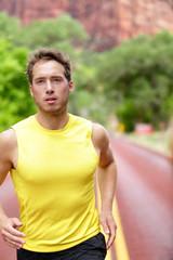 Fitness sport runner man running determined