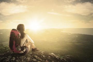 Hiker enjoying a valley view