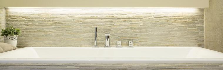 Porcelain bath in luxury bathroom