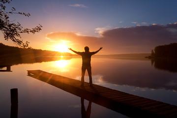 meditative Übungen am See