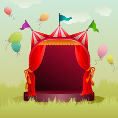 colorful circus tent with balloons