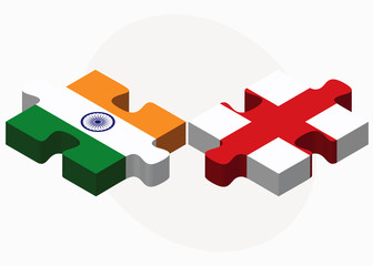 India and England Flags in puzzle