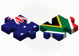 Australia and South Africa Flags in puzzle
