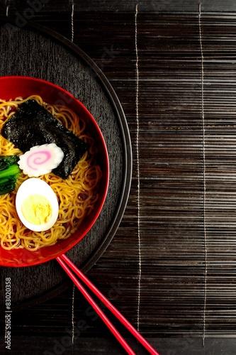 Poster Ramen with red chopsticks