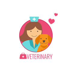 Veterinary medicine concept.  Doctor with dog. Flat style icon.