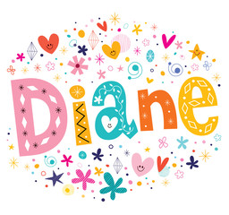 Diane girls name decorative lettering type design