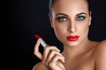 Portrait of Beautiful Woman With Red Lipstick. Red Lips