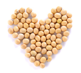 Heart of soy beans isolated on the white background