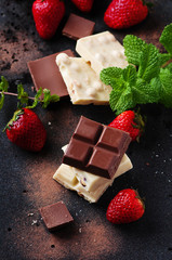 Chocolate with mint and strawberry