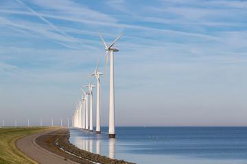 Long row off shore wind turbines in the Dutch sea