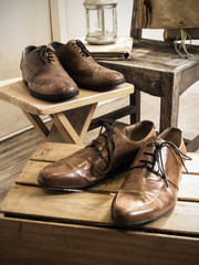 Vintage male accessories.Leather shoes.