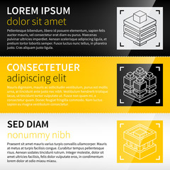 Three techno banners with abstract isometric icons.