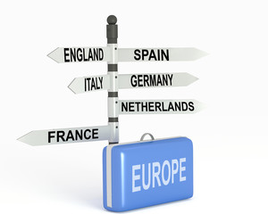 Europe Travel and blue  suitcase