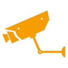 Icono aislado camara vigilancia naranja
